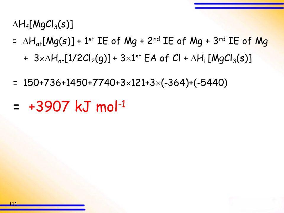 = +3907 kJ mol-1 Hf[MgCl3(s)]